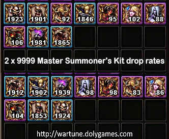 2x9999 Master Summoner's Kit drop rates