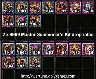 2x9999 Master Summoner's Kit drop rates