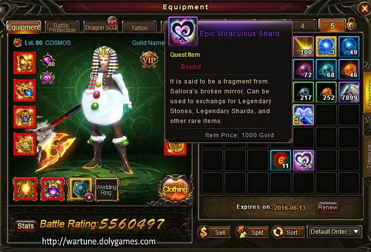 Epic Miraculous Shard item Wartune