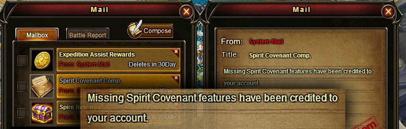 [Patch 5.8] Spirit Covenant mail for existing