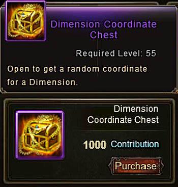 Dimension Coordinate Chest item Wartune