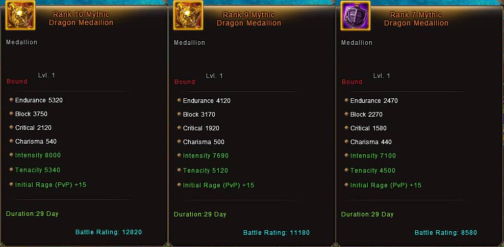 Rank 8, 9 and 10 Mythic Dragon Medallion