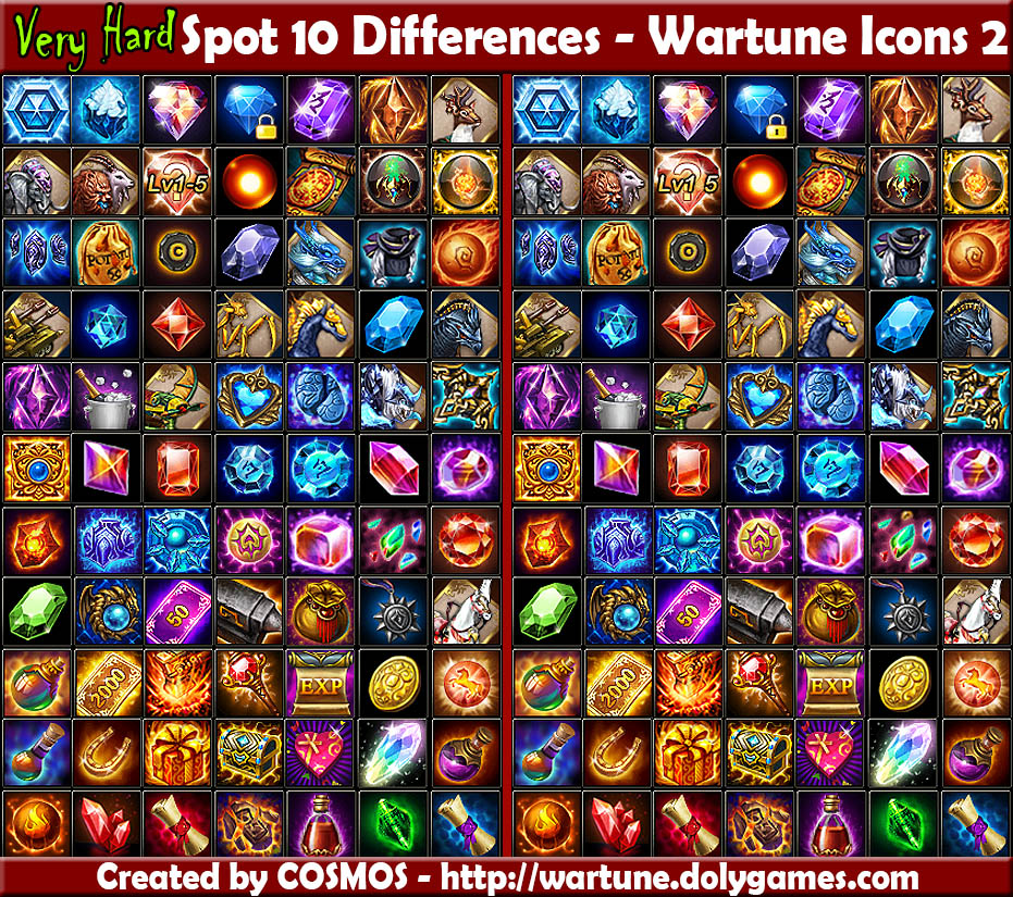 Spot 10 Differences - Random Wartune Icons 2