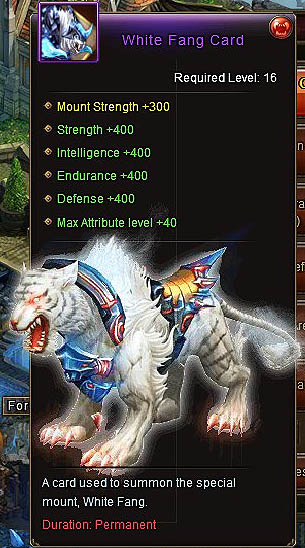 White Fang Card +400 stats mount Wartune
