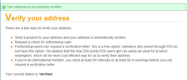 p2p address verified