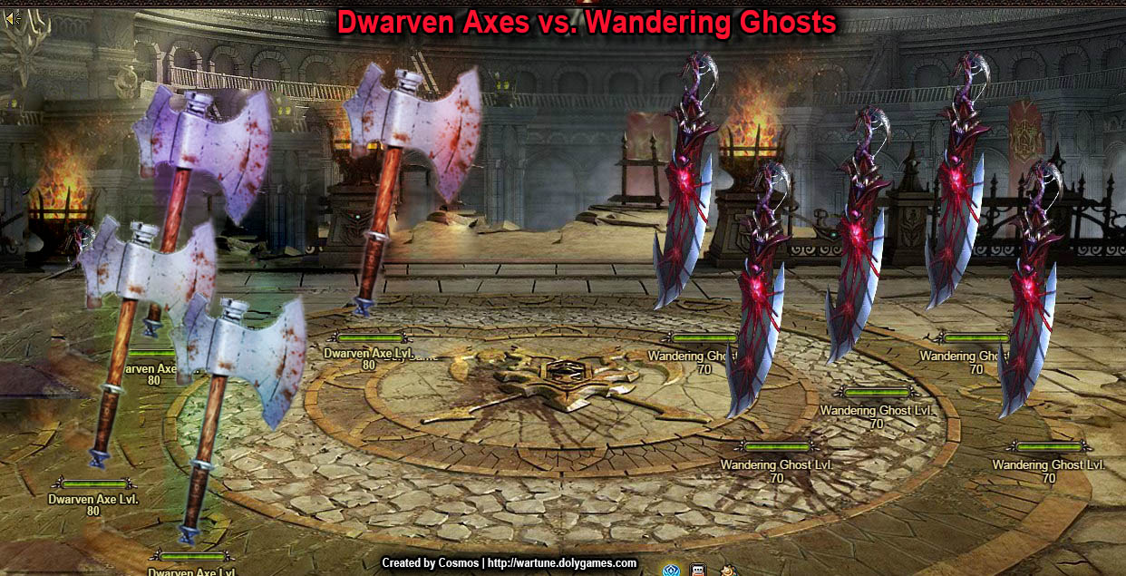 Dwarven Axes vs. Wandering Ghosts Wartune funny