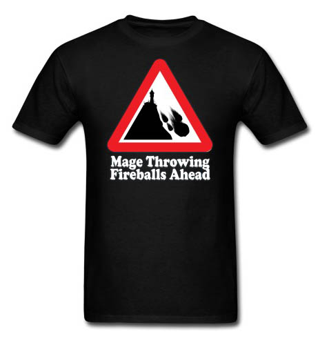 Mage Fireballs Ahead Sign Men's T-shirt