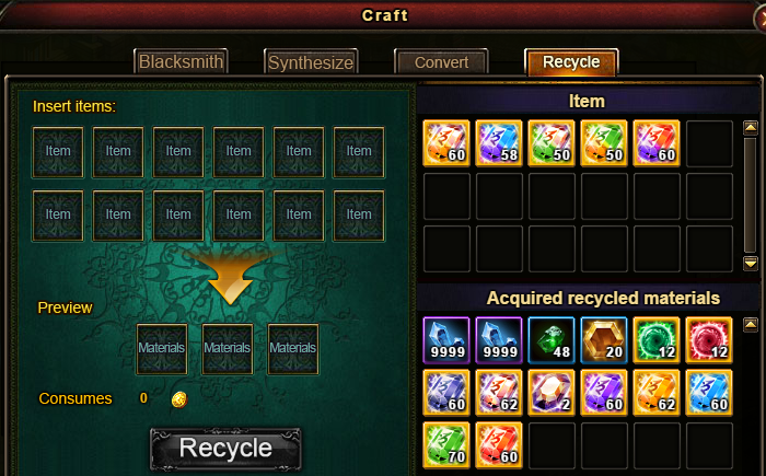Wartune Patch 6.1 Craft Recycle