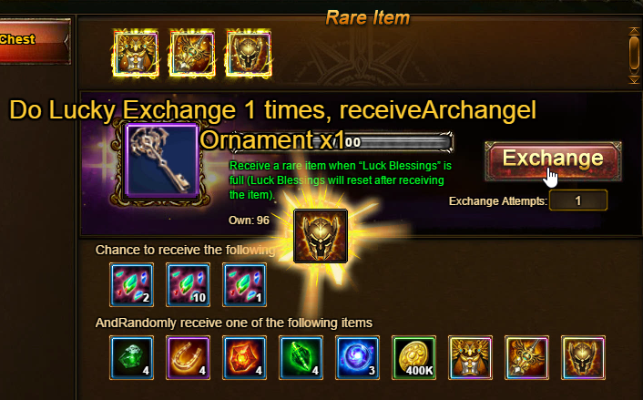 Wartune Patch 6.1 Lucky Exchange 100 Draw Exchange Prize