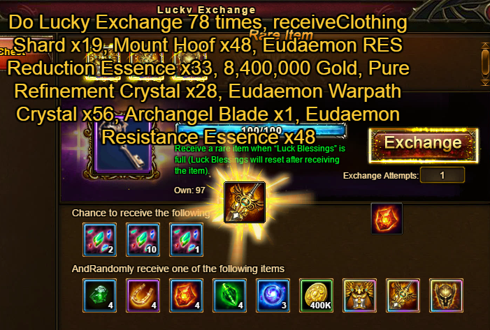 Wartune Patch 6.1 Lucky Exchange 78 Draws