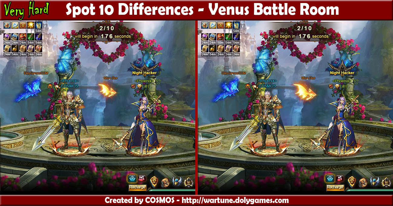 Spot 10 Differences - Venus Battle Room