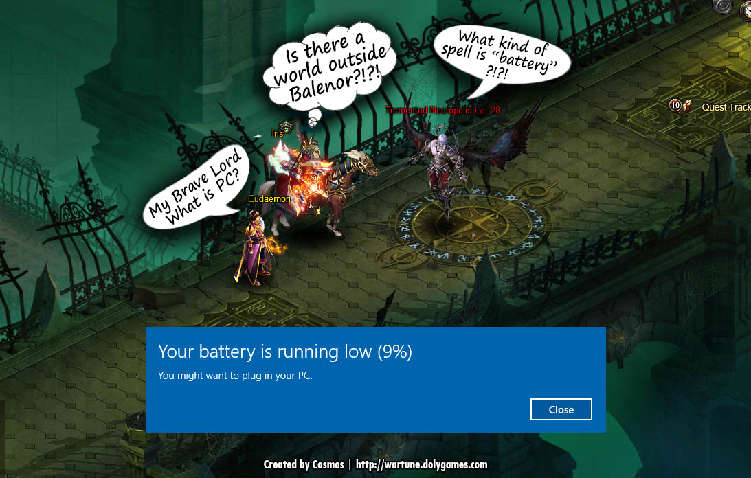 Wartune fun - low PC battery