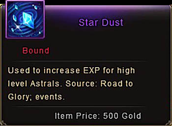 Star Dust item window Wartune