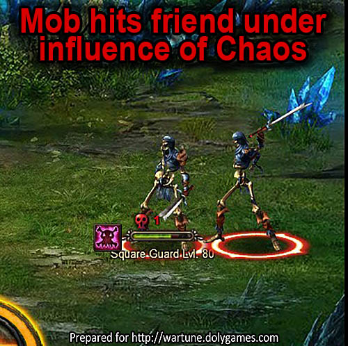 Mob hits friend under Chaos Rune