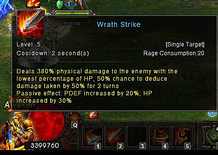 Wrath Strike skill Wartune