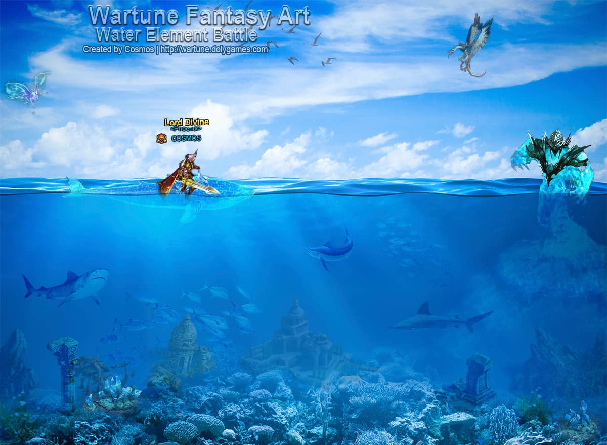 Wartune Fantasy Art Water Element Battle by COSMOS