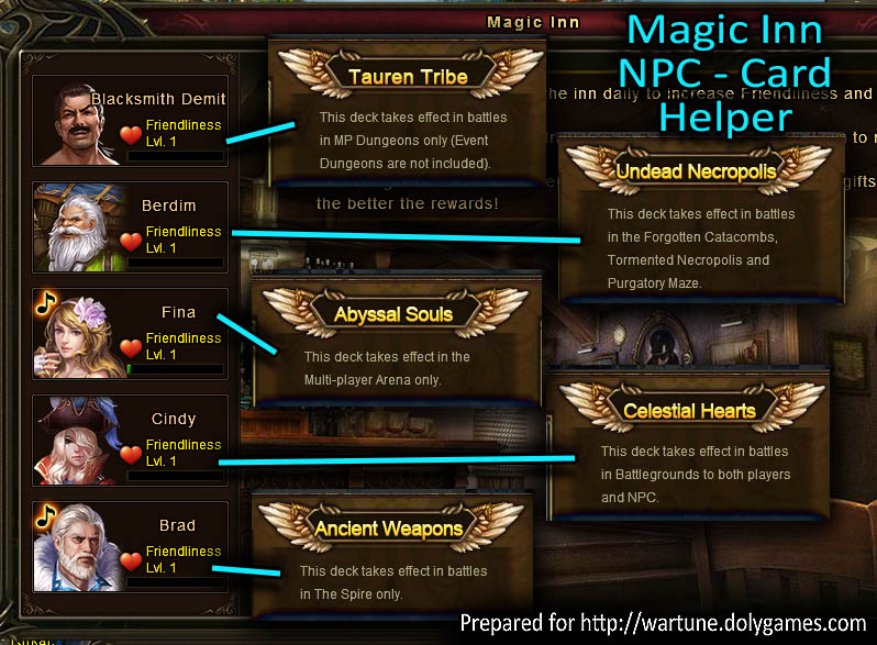 Magic Inn NPC Card Helper Wartune Patch 6.5