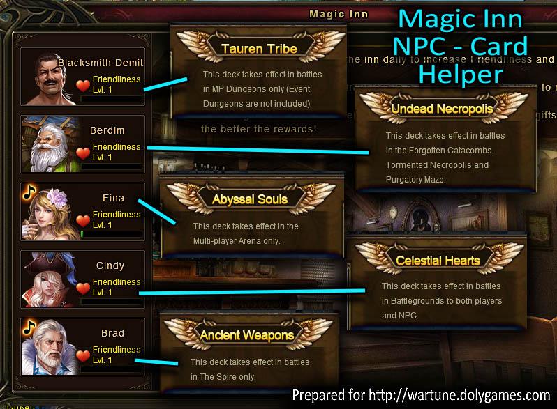 Magic Inn NPC Card Helper Wartune Patch 6.5