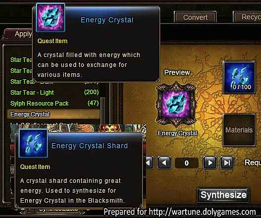 Energy Crystal and Shard item Wartune