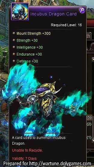 Incubus Dragon +30 Wartune mount 7 days 500 Inferno Shards