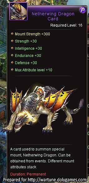 Netherwing Dragon +30 Wartune mount 800 Shadow Souls