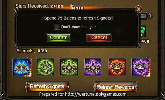 Wartune Patch 7.0 Eudaemon Signet Guide 75 balens