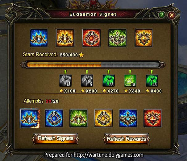 Wartune Patch 7.0 Eudaemon Signet Guide window 2