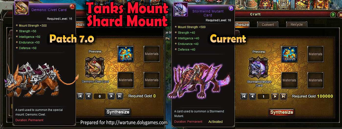 Wartune Patch 7.0 Modification of Mount of Tanks Mount Shards