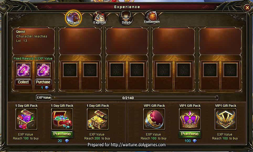 Wartune Patch 7.0 New Experience System Guide 2