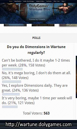 Poll Results - Do you do Dimensions in Wartune regularly?