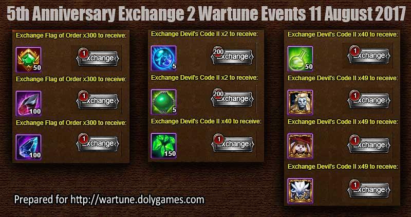 5th Anniversary Exchange 2 Wartune Events 11 August 2017