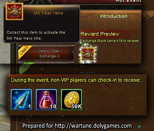 5th Year Hero Title Wartune Events 11 August 2017