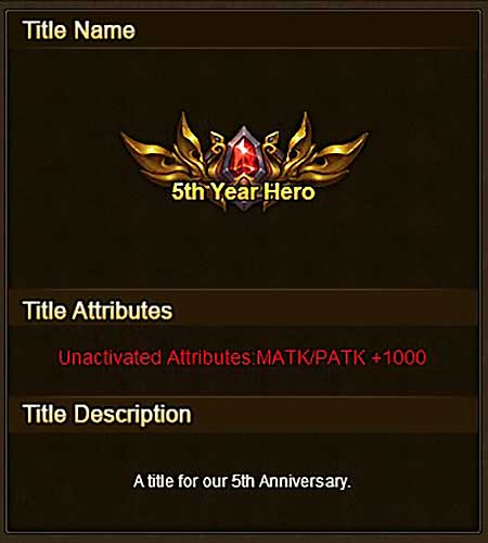 5th Year Hero Title info Wartune