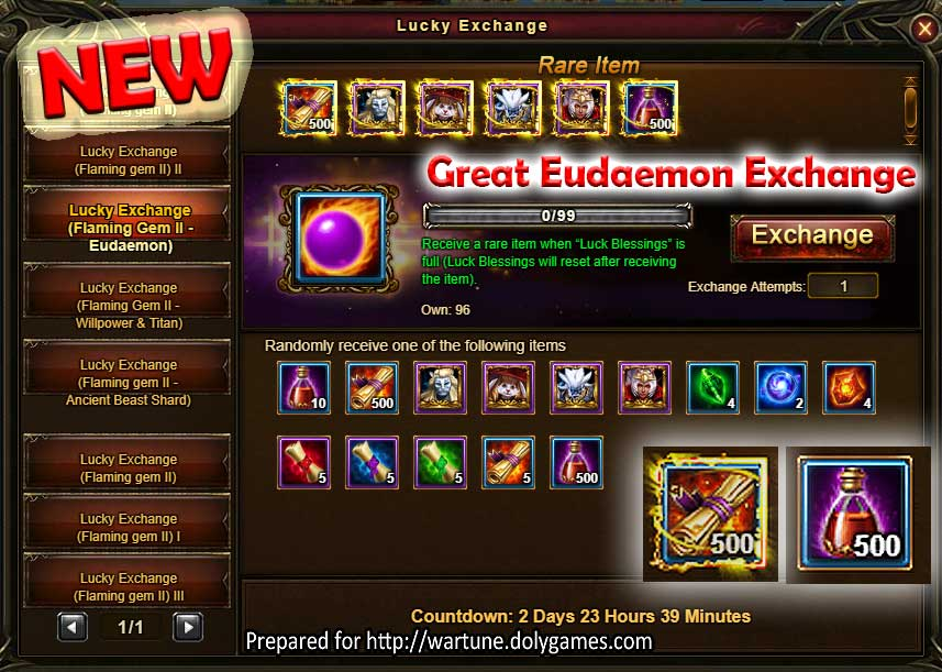 NEW Lucky Exchange Eudaemon Wartune Events 29 August 2017