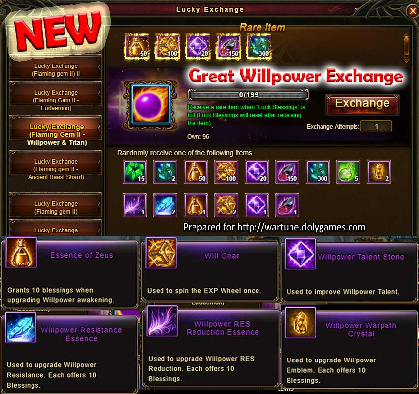 NEW Lucky Exchange Willpower Wartune Events 29 August 2017