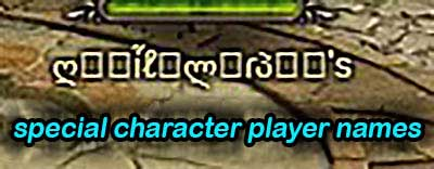 special character player names