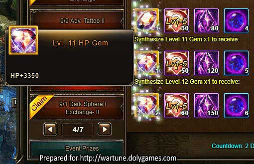 Level 12 Gem Synthesis Wartune Events 9 September 2017