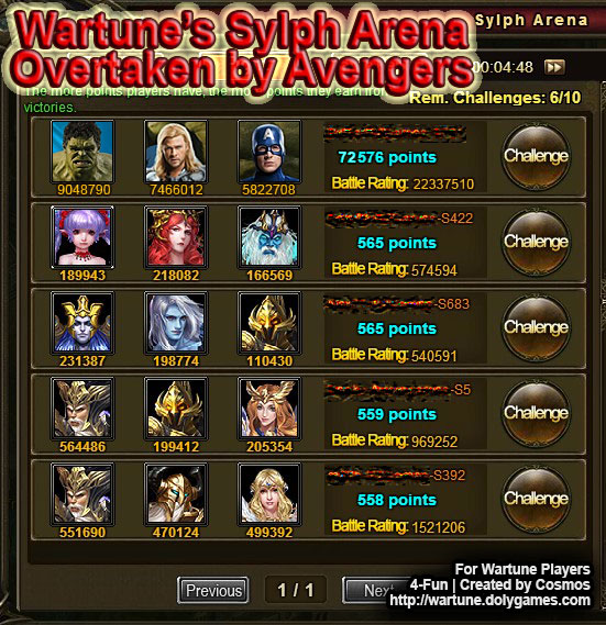 Avengers in Wartune Sylph Arena by COSMOS DolyGames
