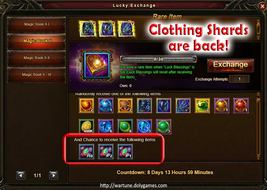 Clothing Shards Wartune Events 6 October 2017