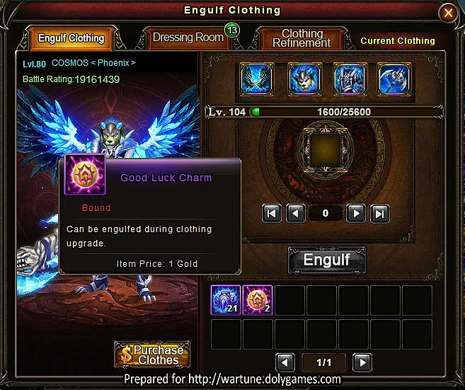 Tip for Engulf Clothing Good Luck Charms Wartune