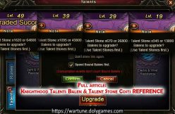 Knighthood Talents Balen & Talent Stone Costs REFERENCE