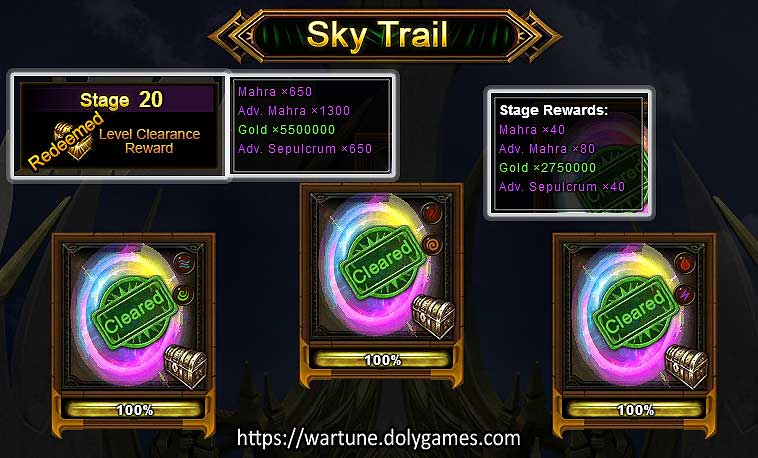 Sky Trail Rewards by Stages 11-20 (Wartune Patch 7.5)