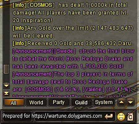 lose 38 mil gold Wartune