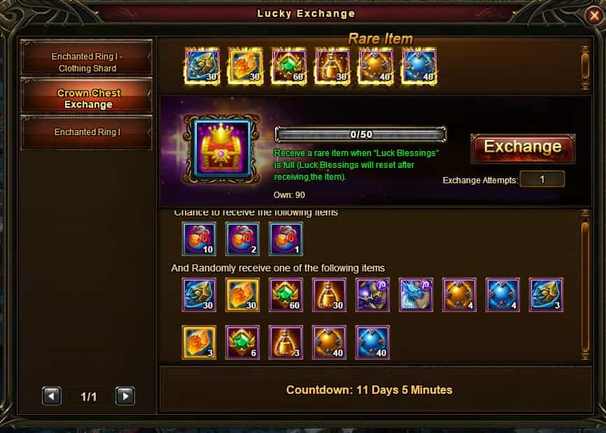 Crown Chest Exchange 20 Jan 2018