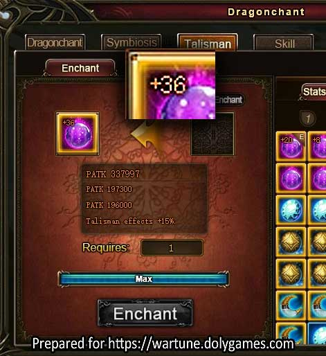 Max Dragonchant Talisman Enchant +36 Wartune