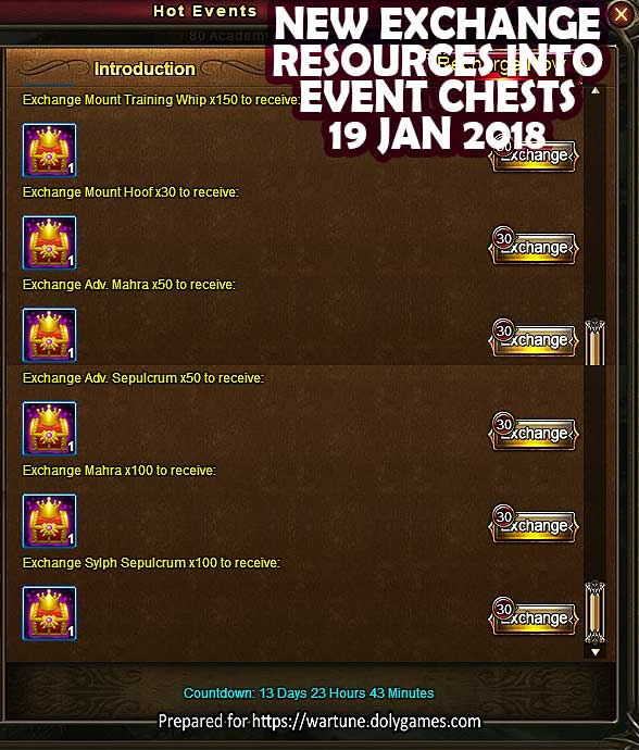 Wartune exchange resources into event chests 18 Jan 2018