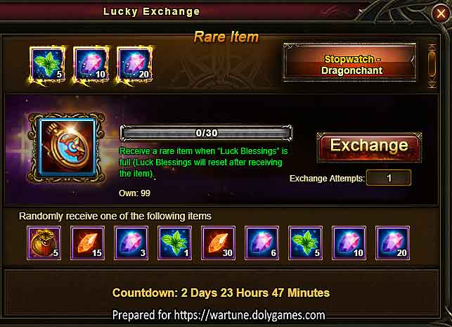 Dragonchant Lucky Exchange Wartune Events 24 APR 2018 v2