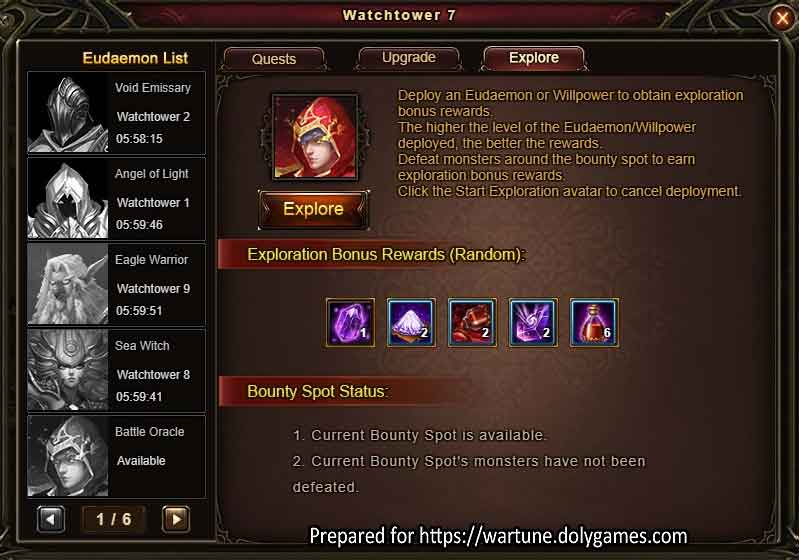 Eudaemon Patrol EXPLORE 2 Wartune Patch 7.8
