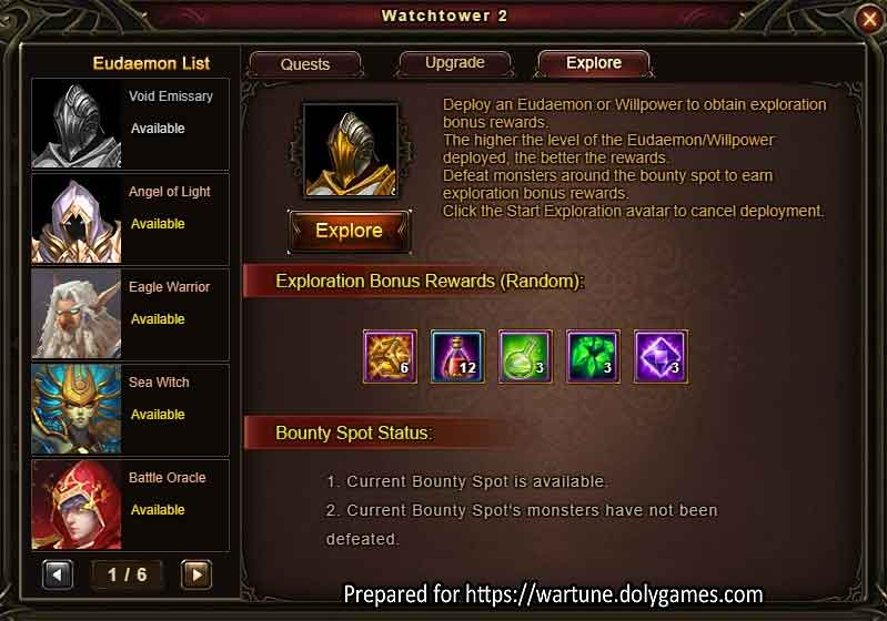 Eudaemon Patrol EXPLORE Wartune Patch 7.8