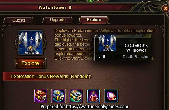 Level 5 Willpower Exploration Rewards in Wartune